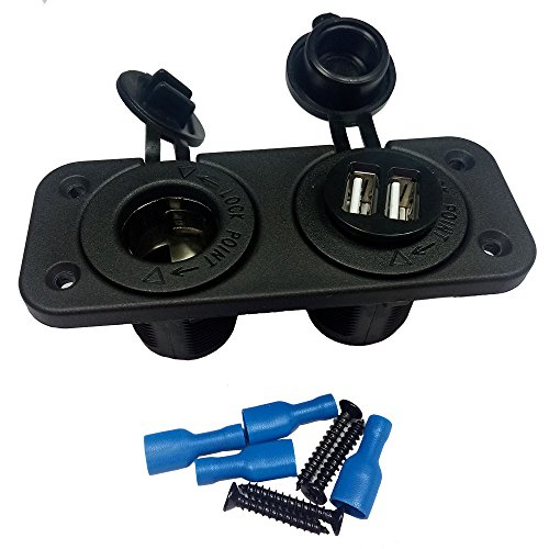 Dual USB Charger and Socket Blue Panel Mount Sea Marine 12 Volt Motorcycle Boat Rv Truck Plug Power Outlet ()