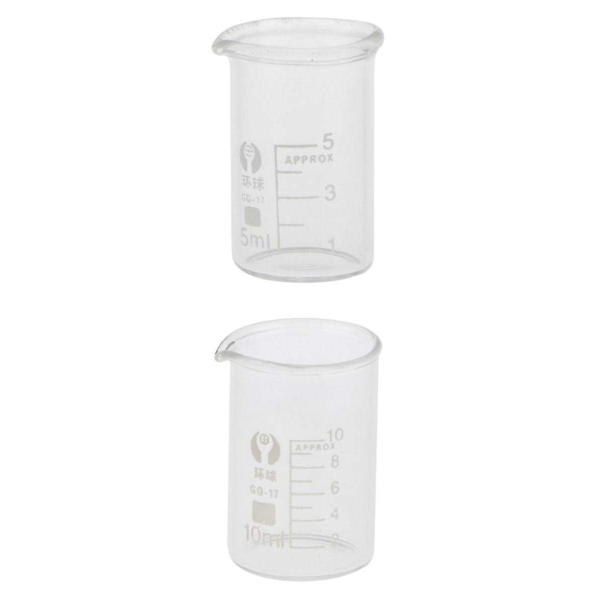 Baoblaze Glass Cylinder Beaker Conical Flask Graduated Glass Measuring NEW 5mL + 10mL