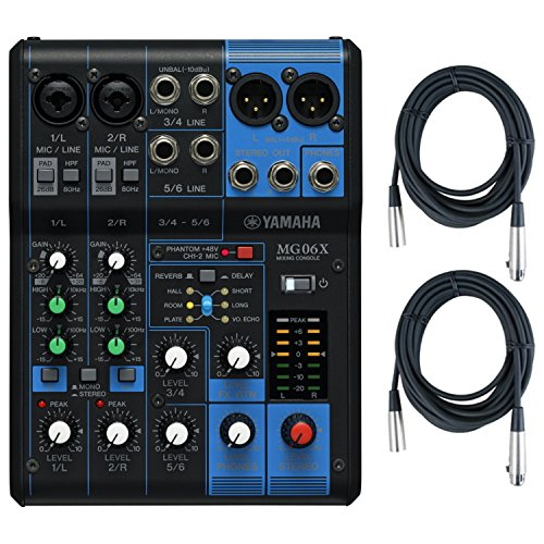Yamaha MG06X 6 Input Stereo Mixer (with SPX Effects) w/ (2) XLR Mic Cables (Microphone Mixer Stereo)