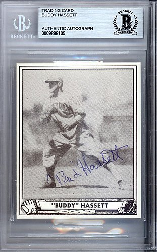 Buddy Hassett Autographed Signed 1986 1940 Play Ball Reprint Card #62 Boston Bees - Beckett BAS Certified