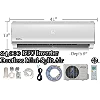 24000 BTU Innova Ductless Mini-Split Air Conditioner – Inverter SEER 15 – Cooling & Heating – Dehumidifier – 240v/60hz - PreCharged Condenser - Ultra Quiet - 16 Feet Line Set + Accessories