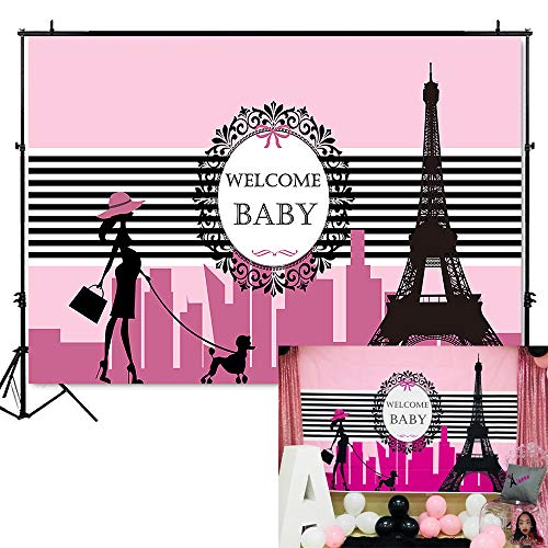 Mehofoto Paris Baby Shower Backdrop Pink Paris Themed Baby Shower Photography Background 7x5ft Eiffel Tower Baby Shower Party Banner Supplies Backdrops -
