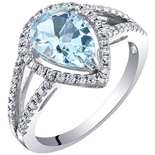 IGI Certified Aquamarine and Diamond 14K White Gold Ring 1.90 Carats Total Pear Shape