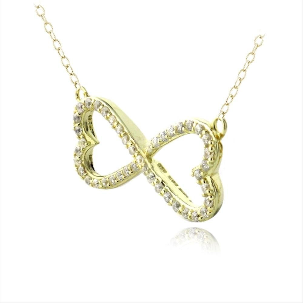 Glitzs Jewels Yellow Gold Flashed Sterling Silver Cubic Zirconia Heart Infinity Necklace