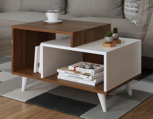 SAGE Couchtisch- Wohnzimmertisch - Beistelltisch - Kaffeetisch in modernem Design (Nussbaum - Weiß)