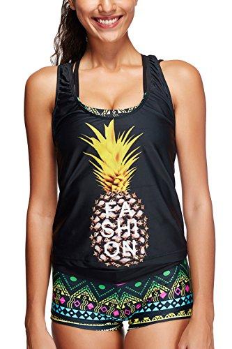 Maillot Sans De Rembourré Femme Tankini Bikini Gilet Grande Avec Set Shorty Bain Taille Alicecoco Pièces 2 Pineapple Vintage Manches dgw6d5x