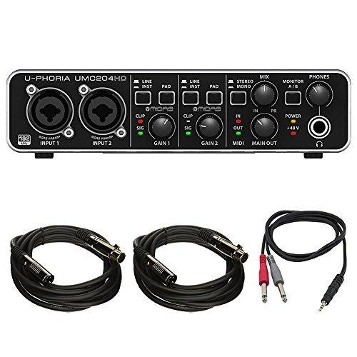 Behringer Usb Dj Interface - Behringer U-PHORIA (UMC204HD) Audiophile 2x4, 24bit/192kHz USB Audio/MIDI Interface w/ Pro DJ Bundle Includes, 1/8