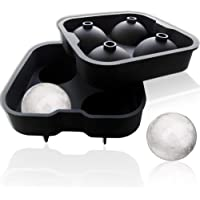 Ice Ball Maker Flexible Food-Grade Silicone Sphere Ice Molds Tray for Whiskey Wine Drinking - Makes 1.8 Inch Ice Balls