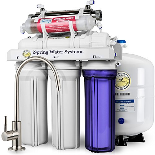 iSpring RCC7AK-UV 7-Stage Under-Sink Reverse Osmosis Drinking Water Filtration System with Alkaline Remineralization Filter and UV Sterilizer - 75 GPD by iSpring