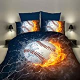 Aolvo 3D Bedding Set, Sports Themed Bed Set, 3PC Baseball Printed Duvet Cover Pillowcase Set Teens Boys, Decorative College Bedroom Bedding, No Comforters (200 X 230cm)