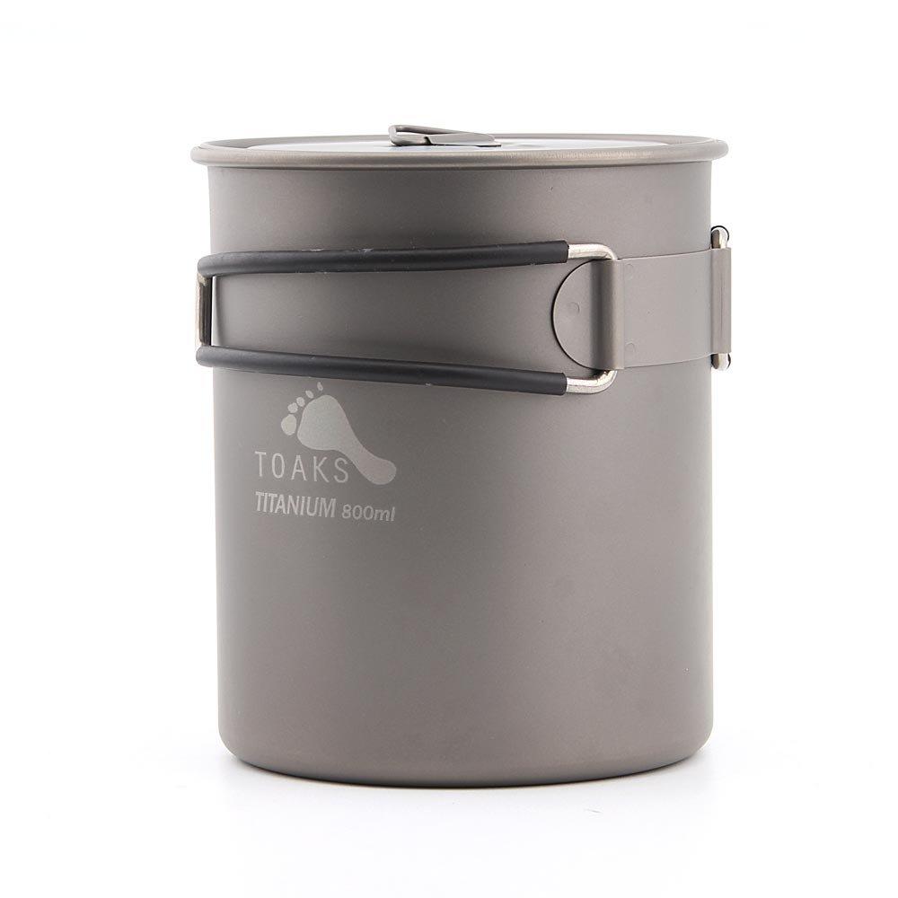 TOAKS pot-800超軽量チタンポットアウトドアキャンプ調理器具チタン水カップ折りたたみハンドル800 ml B06XSBS1W9