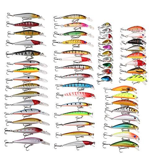 WUYASTA 56Pcs Bass Fishing Lures Kit Mixed Hard Trout Baits Set Fish Accessories (56PCS.)