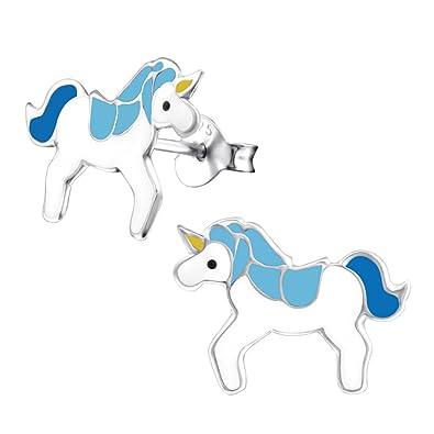 Laimons Kids Pendientes para niña Unicornio Azul, Blanco Plata de ley 925: Amazon.es: Joyería