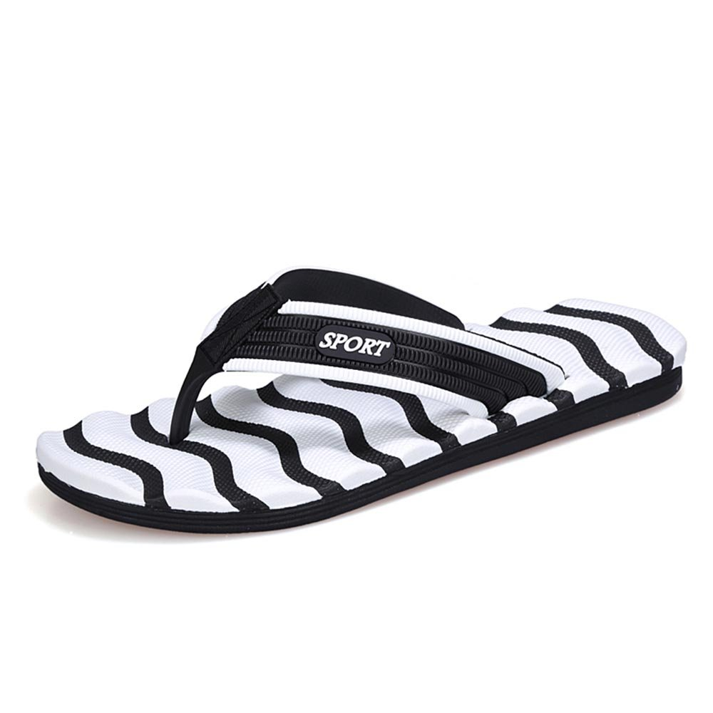 UNN 2017 Summer Slippers Men Striped flip Flops Flat Sandals Shoes Outdoor for Casual Walking Cool Mix Colors Beach Sandals (10.5, White)