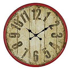 Breakwater Bay Large Vintage Round Metal Wall Clock 23.5'' Oversized Numeral Retro Wall Clock Home Office Living Room Decoration