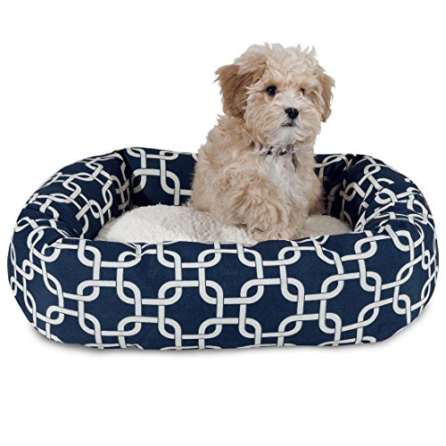 1 Piece Navy Blue Geometric Lattice Large 40 Inches Sherpa Bagel Comfort Pet Bed, White Interlocked Trellis Pattern, Dog Bedding Thick Surface Raised Sides Water Stain Resistant Durable Polyester