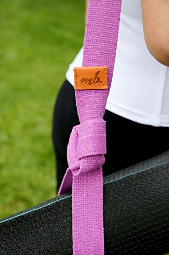 Premium 8' Yoga Strap by MoveBalance with Leather Accents and metal D-rings ✮ 100% Organic Cotton ✮ Extra Thick Belt for better Performance ✮ Earth Friendly ✮ 100% Satisfaction Guarantee