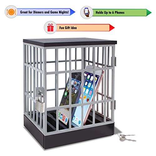 Cell Phone Jail - Lock Box Phone Gadget - Mobile Smartphone Locking Container - Prison Cell Cage with Lock and Key - Fun Novelty Gift Idea (Cell Phone Gifts)