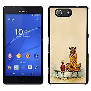 MOBMART Carcasa Funda Case Cover Armor Shell PARA Sony Xperia Z3 Compact - The Boy And His Tiger Friend