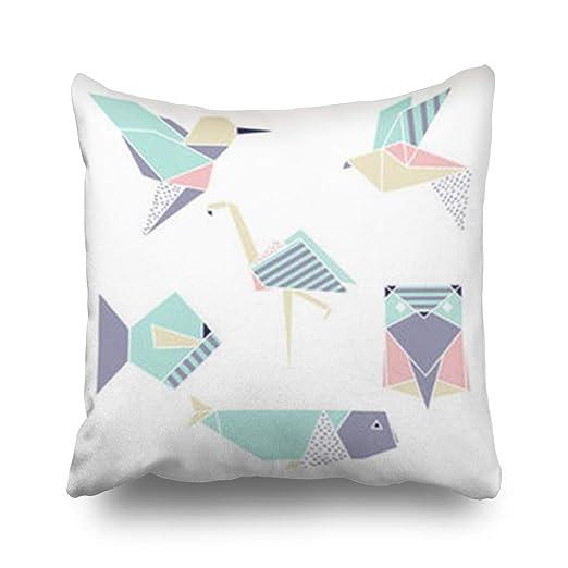 Hitime Fundas de Almohada Origami Geométrico Set Flamingo ...