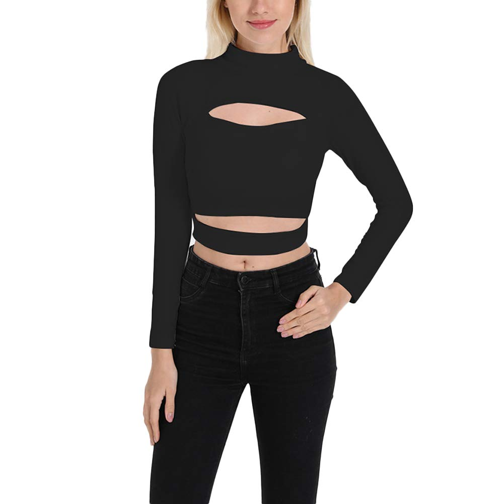 e18e1e3eef2 Women's Mock Neck Long Sleeve Cut Out Open Front Crop Tops Casual Tee  Blouse at Amazon Women's Clothing store: