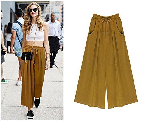 Pusheng Damen Hose Culotte Pants Broadly feet weites Bein S-XXXXL Hose Sommer in verschiedene Farben grün,gelb,schwarz