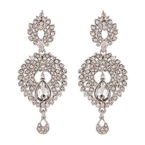 Aheli Indian Traditional Ethnic Silver Color Tone CZ Diamond Stone Dangle Drop Earrings Bollywood Fashion Jewelry for Women -