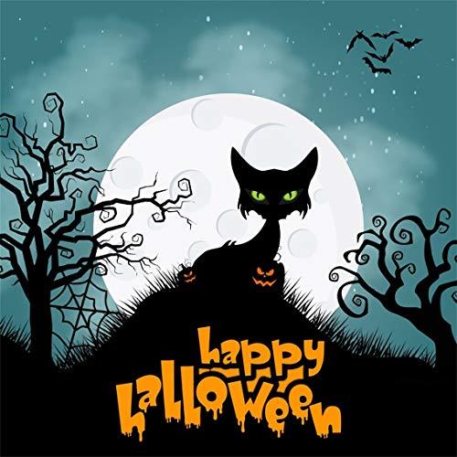 Leyiyi 5x5ft Cartoon Halloween Backdrop Full Moon Starry Sky Galaxy Black Cat in Graveyard Pumpkin Lanterns Bare Trees Photography Background Scary Costume Night Photo Studio Prop Vinyl Wallpaper -