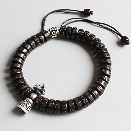 - TALE Tibetan Buddhist Carved Six True Words Coconut Shell Beads White Copper Vajra Charm Lucky Bracelet