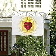 JAVNO 3x5 FT Flag Sacred Heart of Jesus Resplendent Christian Christmas Easter Printed Beautiful Color, Anti-U