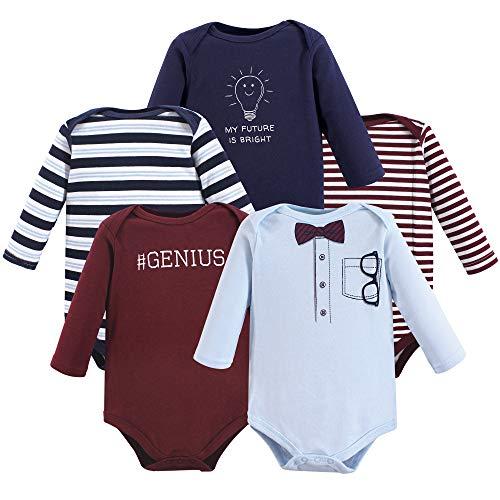 - Little Treasure Unisex Baby Cotton Bodysuits, Genius 5Pk Long Sleeve, 6-9 Months (9M)