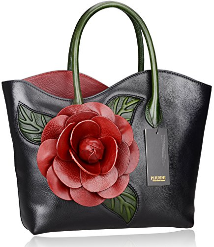 PIJUSHI-Designer-Genuine-Leather-Purses-and-Handbags-for-Women-Satchel-Flower-Handbag