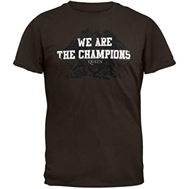e7bdd0c3 Amazon.com: Queen - Mens We Are The Champions Soft T-shirt Small Brown:  Clothing