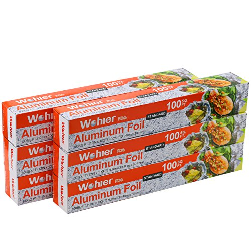 - Wohler Durable Kitchen Aluminum Foil Roll, 100 Sq Ft (Pack of 6)