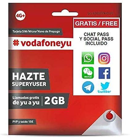 Vodafone 15 - Tarjeta SIM, 2 GB, 30 minutos y roaming: Amazon.es: Electrónica