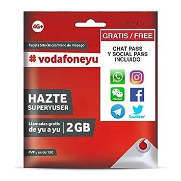 Vodafone 15 - Tarjeta SIM, 2 GB, 30 minutos y roaming