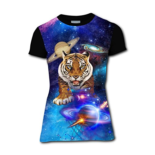 Womens Fantasy Cosmic Planet Tiger Casual T-Shirt Short