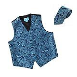 EGD1B06B-L Blue Black Paisley Microfiber Christmas Tuxedo Vest Neck Tie Set Economics Style By Epoint
