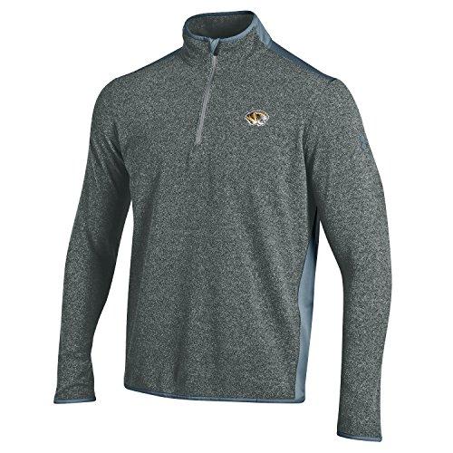 NCAA Missouri Tigers Men's Mizzou Micro Fleece Quarter Zip Shirt, Gray, Medium