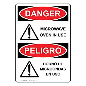 ComplianceSigns Vertical Aluminum OSHA DANGER Microwave Oven ...