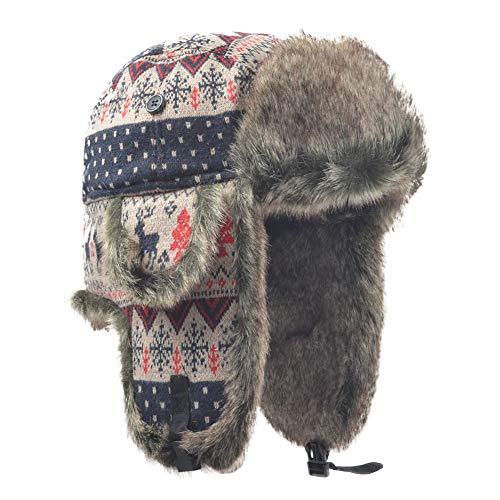 Janey&Rubbins Russian Hat Fur Soviet Ushanka Cossack Winter Cap Earflap Snow Ski Headwear (M, Red/Knitted)