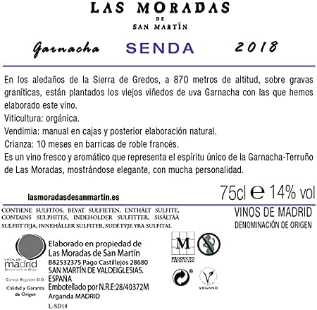 Senda Las Moradas De San Martín Senda, Vino Tinto, Añada 2018, D.O. Vino de Madrid, Paquete de 3 Botellas, 75 Cl, Vino Tinto Fresco y Aromático, Elaborado con Uva Garnacha - 2250 ml