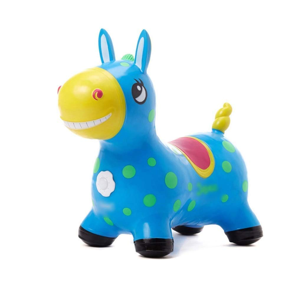 WHTBB Hopping Horse, Outdoors Ride On Bouncy Animal Play Toys, Inflatable Hopper Plush Covered with Pump, Activities Gift for 3, 4, 5 Age Year Old Kids Boys Girls (Color : Blue) by WHTBB