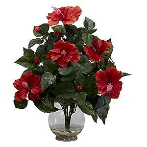 Hibiscus with Fluted Vase Silk Flower Arrangement 58