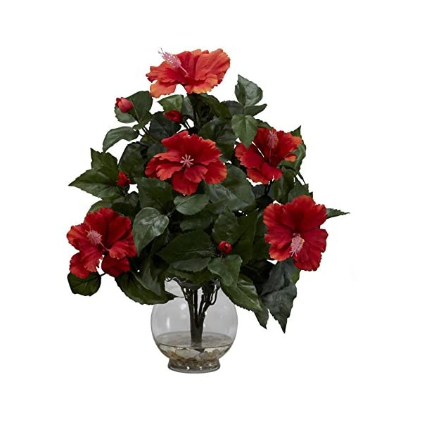 Hibiscus With Fluted Vase Silk Flower Arrangement Silk Flower