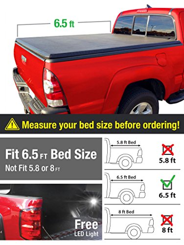 MaxMate Tri-Fold Truck Bed Tonneau Cover works with 2002-2018 Dodge Ram 1500; 2003-2018 Dodge Ram 2500 3500 | Fleetside 6.5' Bed | For models without Ram Box