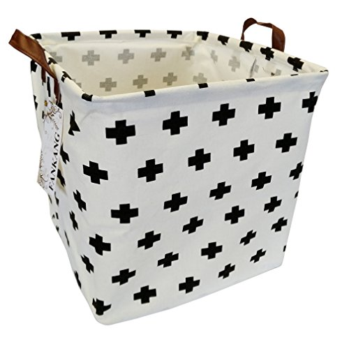 FANKANG Square Storage Bins 13 Inch Well Standing Toy Chest Baskets with Waterproof Coating, Laundry Hamper for Clothes, Baby Nursery, Kids Rooms, Toy Box(Cross)