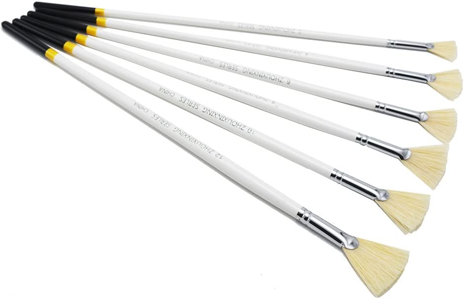 /Ölmalpinsel Aquarellpinsel Holzgriff 6 St/ück//Set Schweineborsten in F/ächerform Wei/ßgold zum Aufh/ängen