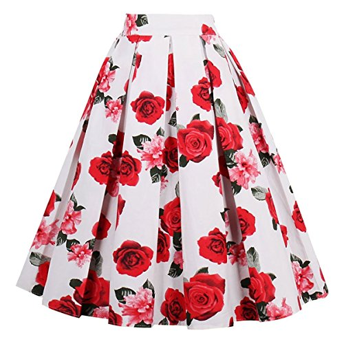 (Dresstore Vintage Pleated Skirt Floral A-line Printed Midi Skirts with Pockets White-Red)