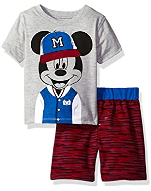 Baby Boys' 2 Piece Mickey Mouse Printed Short Set